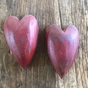 Wood 3D Red Distressed Look Hearts Wall Art Decor